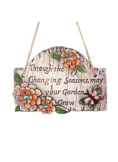 Bosphorus 16 X 12 Cm Taşlı Çiçek Desenli Bahar Mesajlı Ip Askılı Balkon Ve Bahçe Süsü Gri